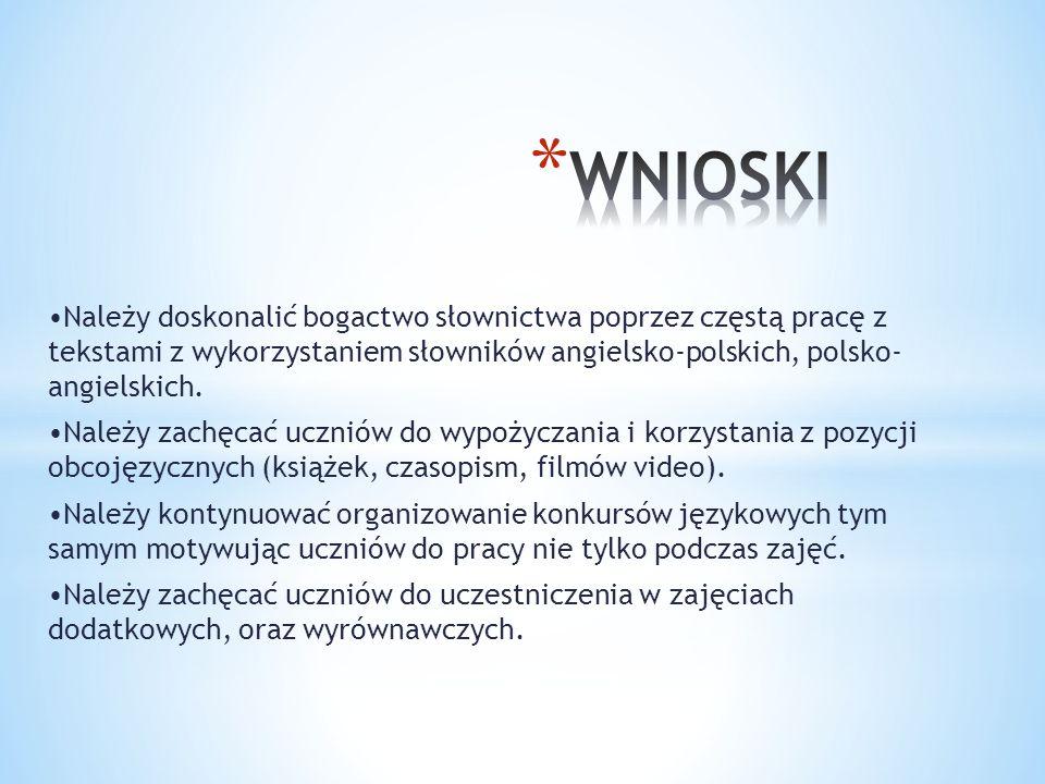 Należy doskonalić bogactwo słownictwa poprzez częstą pracę z tekstami z wykorzystaniem słowników angielsko-polskich, polsko- angielskich.