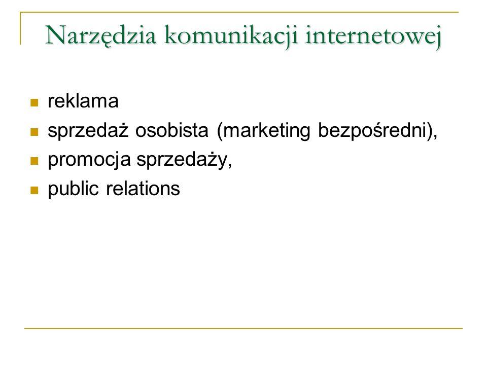 Narzędzia komunikacji internetowej reklama sprzedaż osobista (marketing bezpośredni), promocja sprzedaży, public relations