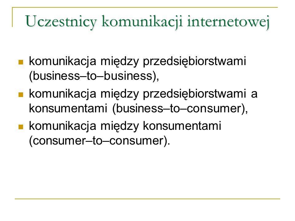 Uczestnicy komunikacji internetowej komunikacja między przedsiębiorstwami (business–to–business), komunikacja między przedsiębiorstwami a konsumentami (business–to–consumer), komunikacja między konsumentami (consumer–to–consumer).