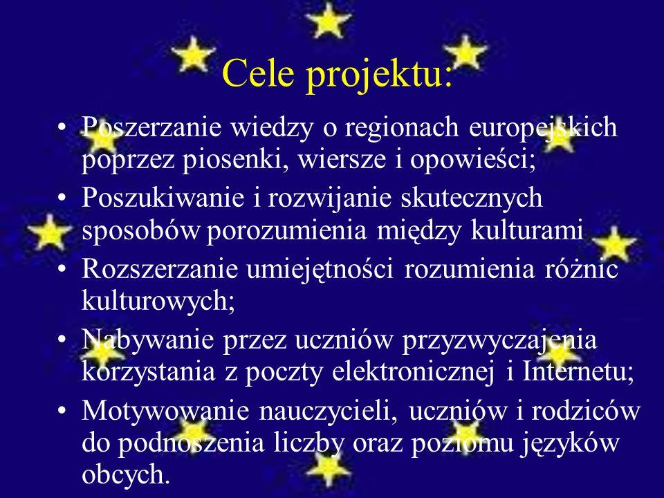 Cele projektu: Poszerzanie wiedzy o regionach europejskich poprzez piosenki, wiersze i opowieści; Poszukiwanie i rozwijanie skutecznych sposobów porozumienia między kulturami Rozszerzanie umiejętności rozumienia różnic kulturowych; Nabywanie przez uczniów przyzwyczajenia korzystania z poczty elektronicznej i Internetu; Motywowanie nauczycieli, uczniów i rodziców do podnoszenia liczby oraz poziomu języków obcych.