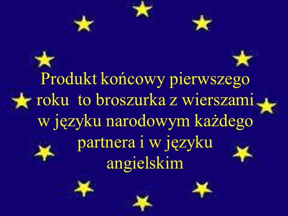 Produkt końcowy pierwszego roku to broszurka z wierszami w języku narodowym każdego partnera i w języku angielskim
