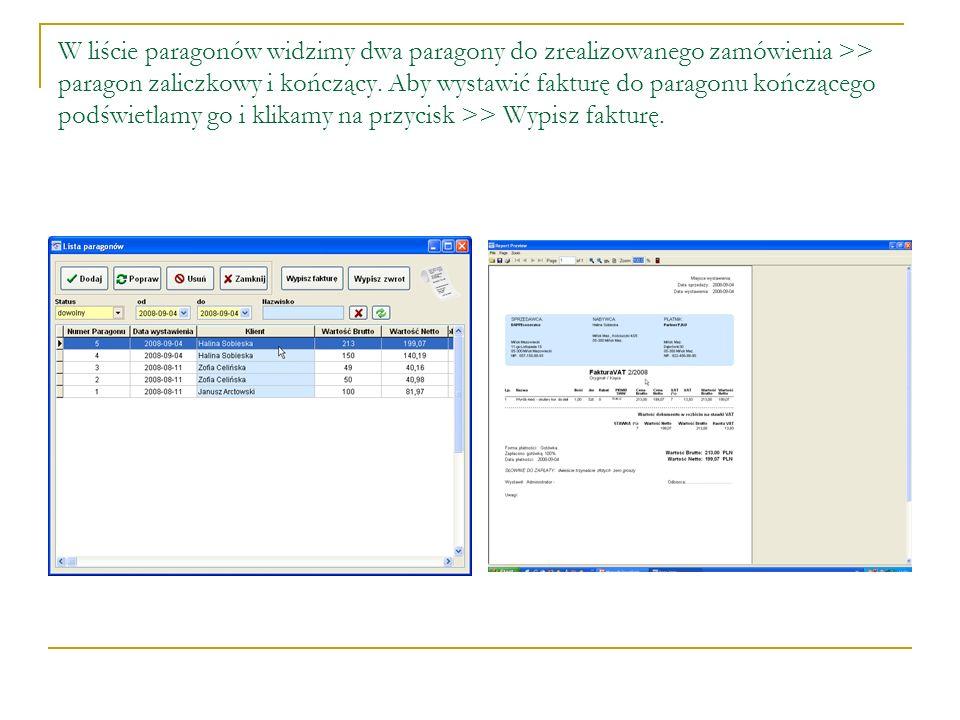 W liście paragonów widzimy dwa paragony do zrealizowanego zamówienia >> paragon zaliczkowy i kończący. Aby wystawić fakturę do paragonu kończącego pod