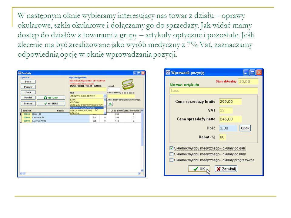 W dolnej części okna >>Sprzedaż recepta etap 2 wpisujemy kwotę pobranej zaliczki.