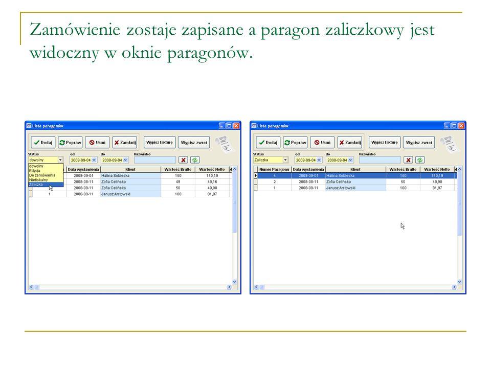 Do wystawionego paragonu zaliczkowego możemy klientowi wystawić fakturę.