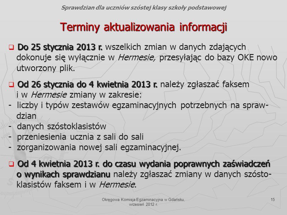 Okręgowa Komisja Egzaminacyjna w Gdańsku, wrzesień 2012 r. 15 Terminy aktualizowania informacji Do 25 stycznia 2013 r. Do 25 stycznia 2013 r. wszelkic