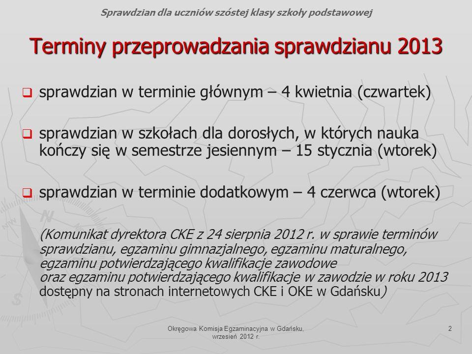 Okręgowa Komisja Egzaminacyjna w Gdańsku, wrzesień 2012 r. 2 Terminy przeprowadzania sprawdzianu 2013 sprawdzian w terminie głównym – 4 kwietnia (czwa