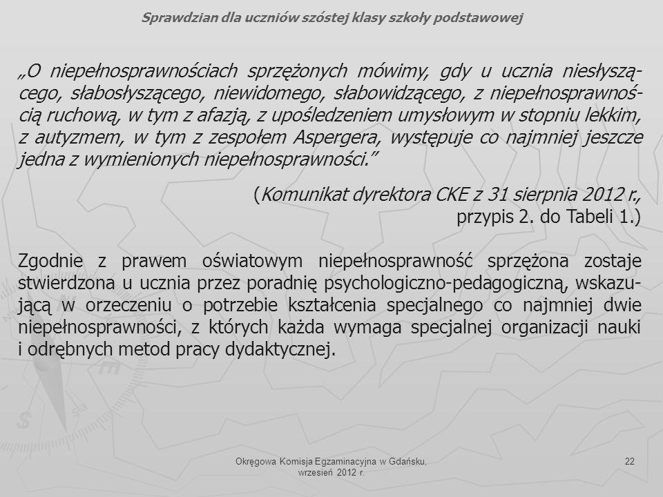 Okręgowa Komisja Egzaminacyjna w Gdańsku, wrzesień 2012 r. 22 O niepełnosprawnościach sprzężonych mówimy, gdy u ucznia niesłyszą- cego, słabosłysząceg