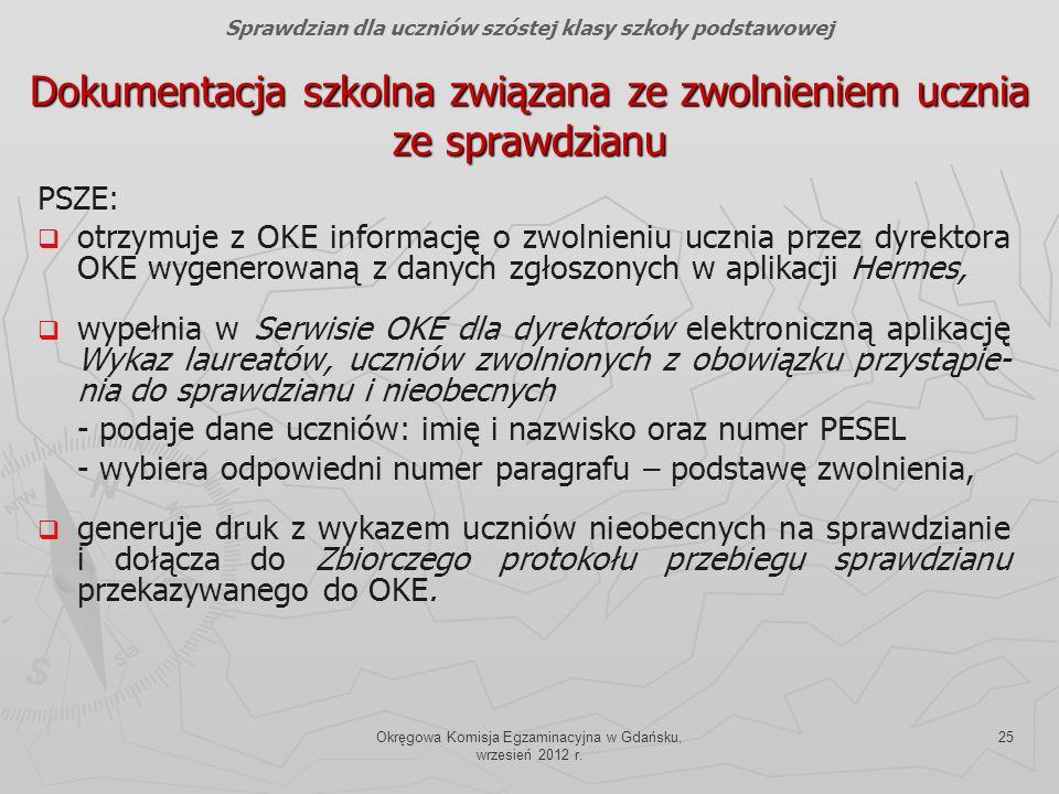 Okręgowa Komisja Egzaminacyjna w Gdańsku, wrzesień 2012 r. 25 Dokumentacja szkolna związana ze zwolnieniem ucznia ze sprawdzianu PSZE: otrzymuje z OKE