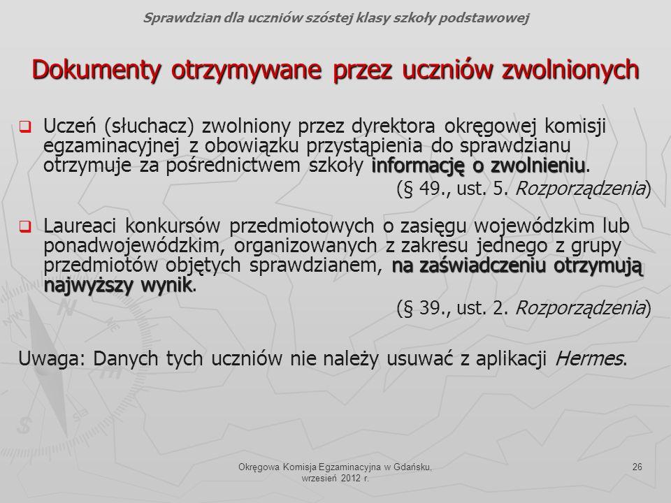 Okręgowa Komisja Egzaminacyjna w Gdańsku, wrzesień 2012 r. 26 Dokumenty otrzymywane przez uczniów zwolnionych informację o zwolnieniu Uczeń (słuchacz)