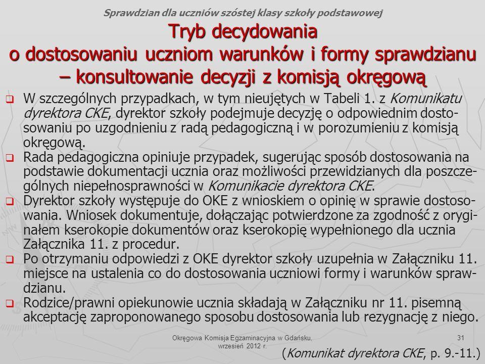 Okręgowa Komisja Egzaminacyjna w Gdańsku, wrzesień 2012 r. 31 Tryb decydowania o dostosowaniu uczniom warunków i formy sprawdzianu – konsultowanie dec