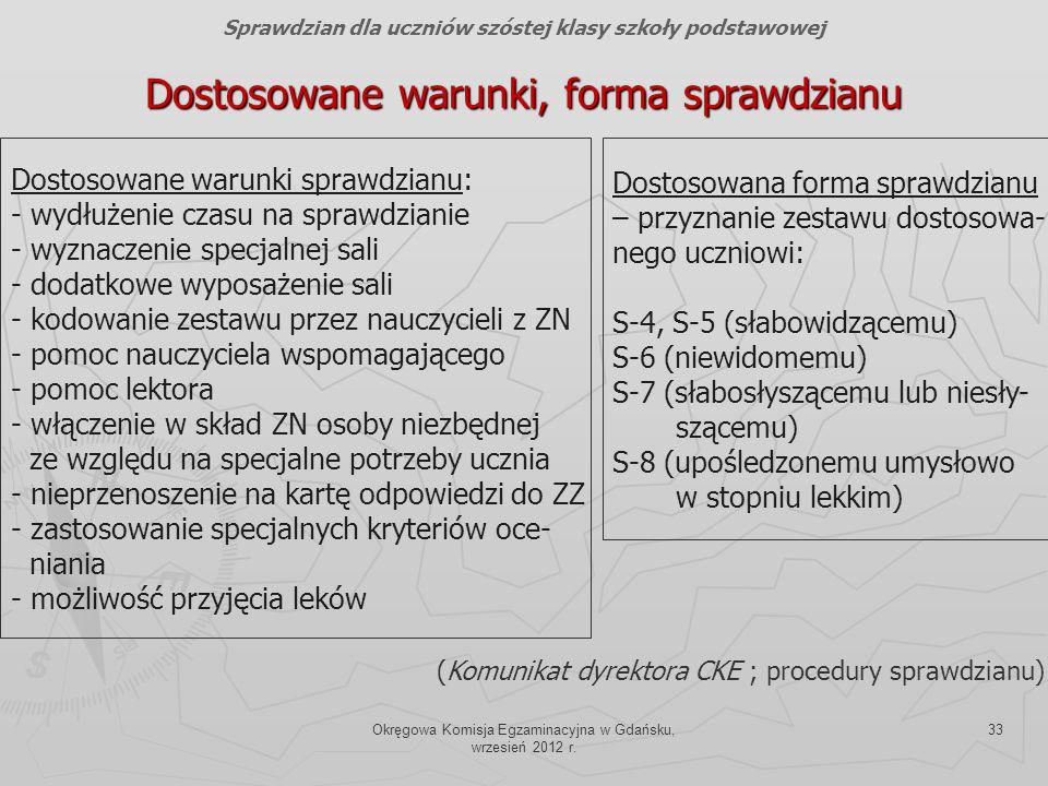 Okręgowa Komisja Egzaminacyjna w Gdańsku, wrzesień 2012 r. 33 Dostosowane warunki, forma sprawdzianu Dostosowane warunki sprawdzianu: - wydłużenie cza