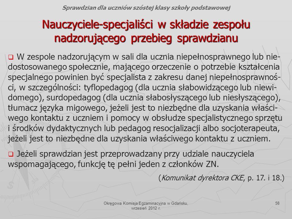 Okręgowa Komisja Egzaminacyjna w Gdańsku, wrzesień 2012 r. 58 Nauczyciele-specjaliści w składzie zespołu nadzorującego przebieg sprawdzianu Sprawdzian
