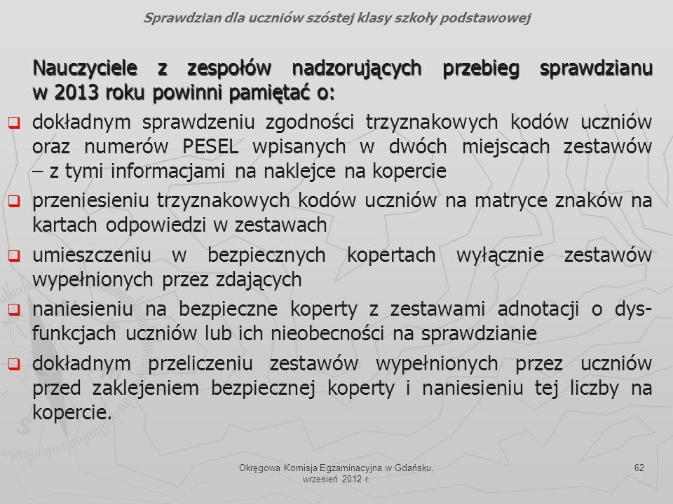 Okręgowa Komisja Egzaminacyjna w Gdańsku, wrzesień 2012 r. 62 Nauczyciele z zespołów nadzorujących przebieg sprawdzianu w 2013 roku powinni pamiętać o