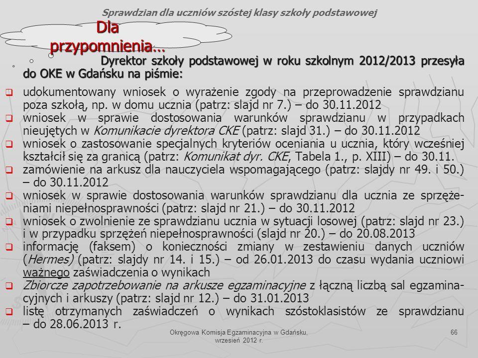Okręgowa Komisja Egzaminacyjna w Gdańsku, wrzesień 2012 r. 66 Dyrektor szkoły podstawowej w roku szkolnym 2012/2013 przesyła do OKE w Gdańsku na piśmi