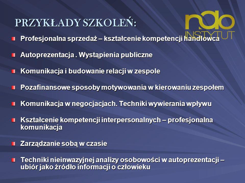 PRZYK Ł ADY SZKOLE Ń : Profesjonalna sprzedaż – kształcenie kompetencji handlowca Autoprezentacja.