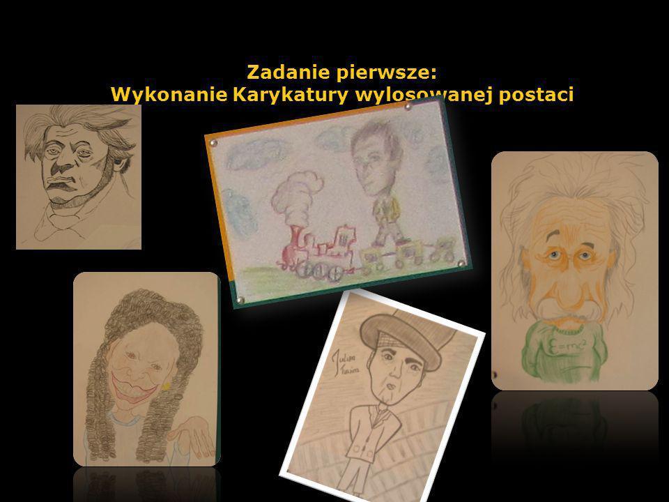 Zadanie pierwsze: Wykonanie Karykatury wylosowanej postaci