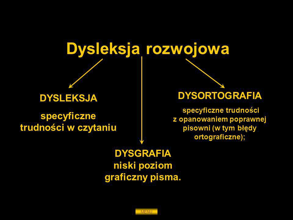 Dysleksja rozwojowa DYSLEKSJA specyficzne trudności w czytaniu DYSORTOGRAFIA specyficzne trudności z opanowaniem poprawnej pisowni (w tym błędy ortogr