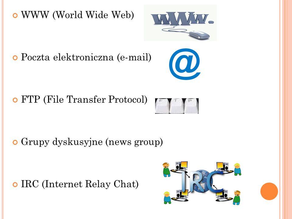 WWW (World Wide Web) Poczta elektroniczna (e-mail) FTP (File Transfer Protocol) Grupy dyskusyjne (news group) IRC (Internet Relay Chat)