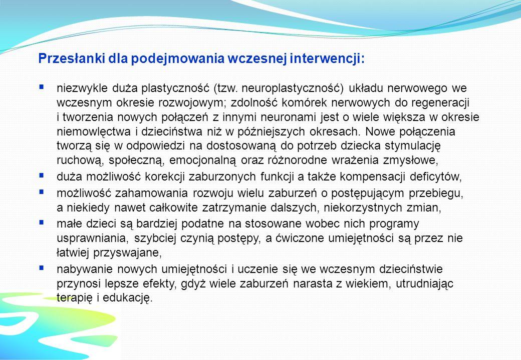 Przesłanki dla podejmowania wczesnej interwencji: niezwykle duża plastyczność (tzw. neuroplastyczność) układu nerwowego we wczesnym okresie rozwojowym