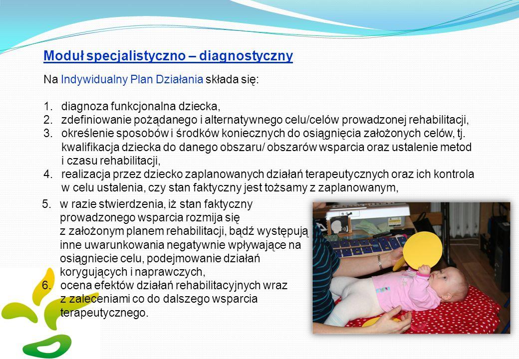 Moduł specjalistyczno – diagnostyczny Na Indywidualny Plan Działania składa się: 1.diagnoza funkcjonalna dziecka, 2.zdefiniowanie pożądanego i alterna