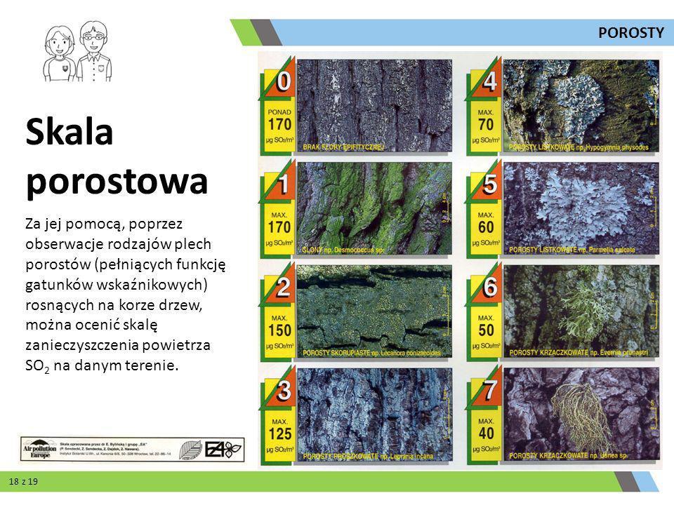 Za jej pomocą, poprzez obserwacje rodzajów plech porostów (pełniących funkcję gatunków wskaźnikowych) rosnących na korze drzew, można ocenić skalę zan