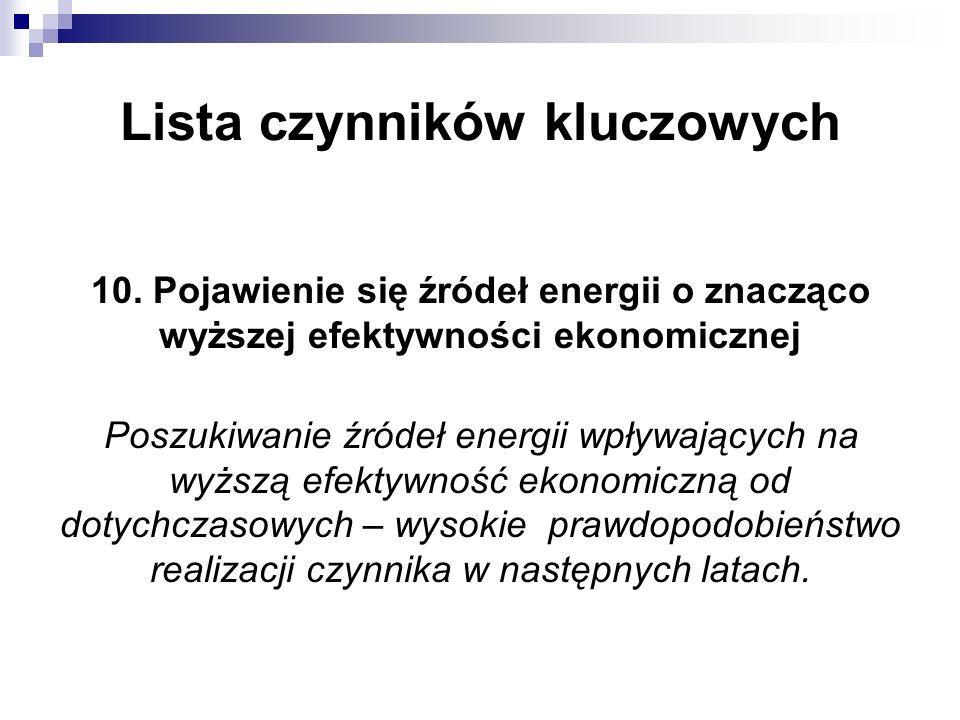 Lista czynników kluczowych 10. Pojawienie się źródeł energii o znacząco wyższej efektywności ekonomicznej Poszukiwanie źródeł energii wpływających na