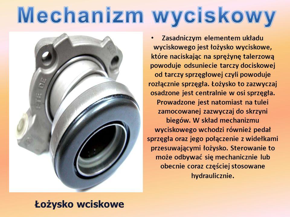 Zasadniczym elementem układu wyciskowego jest łożysko wyciskowe, które naciskając na sprężynę talerzową powoduje odsuniecie tarczy dociskowej od tarcz