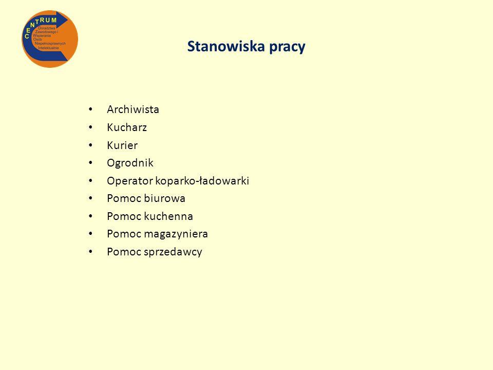 Stanowiska pracy Archiwista Kucharz Kurier Ogrodnik Operator koparko-ładowarki Pomoc biurowa Pomoc kuchenna Pomoc magazyniera Pomoc sprzedawcy