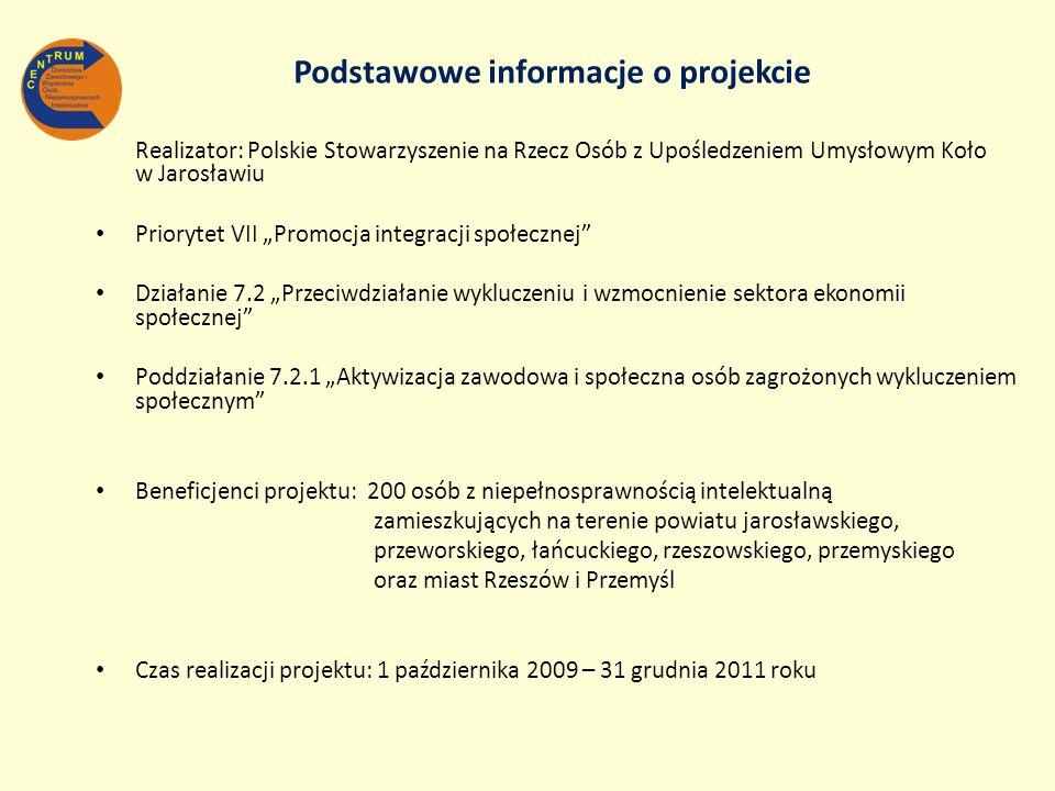 Realizator: Polskie Stowarzyszenie na Rzecz Osób z Upośledzeniem Umysłowym Koło w Jarosławiu Priorytet VII Promocja integracji społecznej Działanie 7.