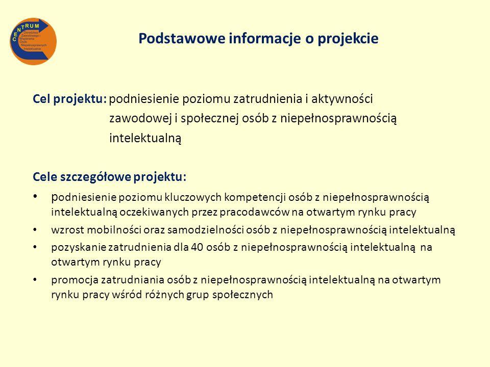 Cel projektu: podniesienie poziomu zatrudnienia i aktywności zawodowej i społecznej osób z niepełnosprawnością intelektualną Cele szczegółowe projektu