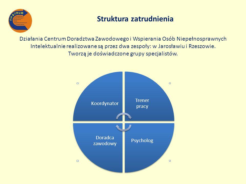 Struktura zatrudnienia Działania Centrum Doradztwa Zawodowego i Wspierania Osób Niepełnosprawnych Intelektualnie realizowane są przez dwa zespoły: w J