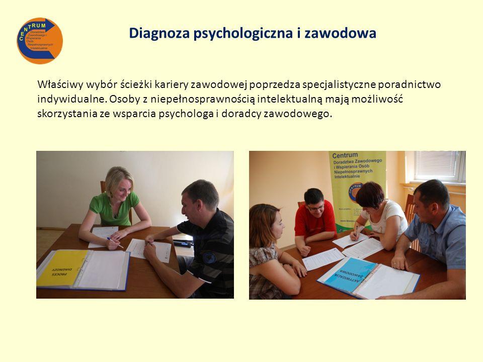 Diagnoza psychologiczna i zawodowa Właściwy wybór ścieżki kariery zawodowej poprzedza specjalistyczne poradnictwo indywidualne. Osoby z niepełnosprawn