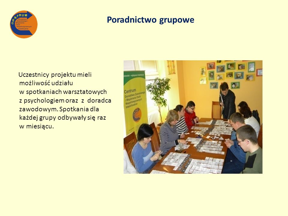 Uczestnicy projektu mieli możliwość udziału w spotkaniach warsztatowych z psychologiem oraz z doradca zawodowym. Spotkania dla każdej grupy odbywały s