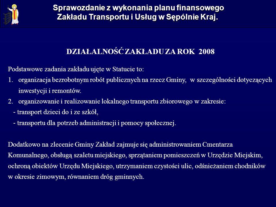 Sprawozdanie z wykonania planu finansowego Zakładu Transportu i Usług w Sępólnie Kraj. DZIAŁALNOŚĆ ZAKŁADU ZA ROK 2008 Podstawowe zadania zakładu ujęt
