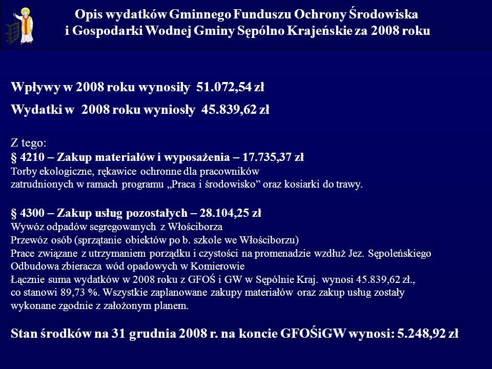 Opis wydatków Gminnego Funduszu Ochrony Środowiska i Gospodarki Wodnej Gminy Sępólno Krajeńskie za 2008 roku Wpływy w 2008 roku wynosiły 51.072,54 zł