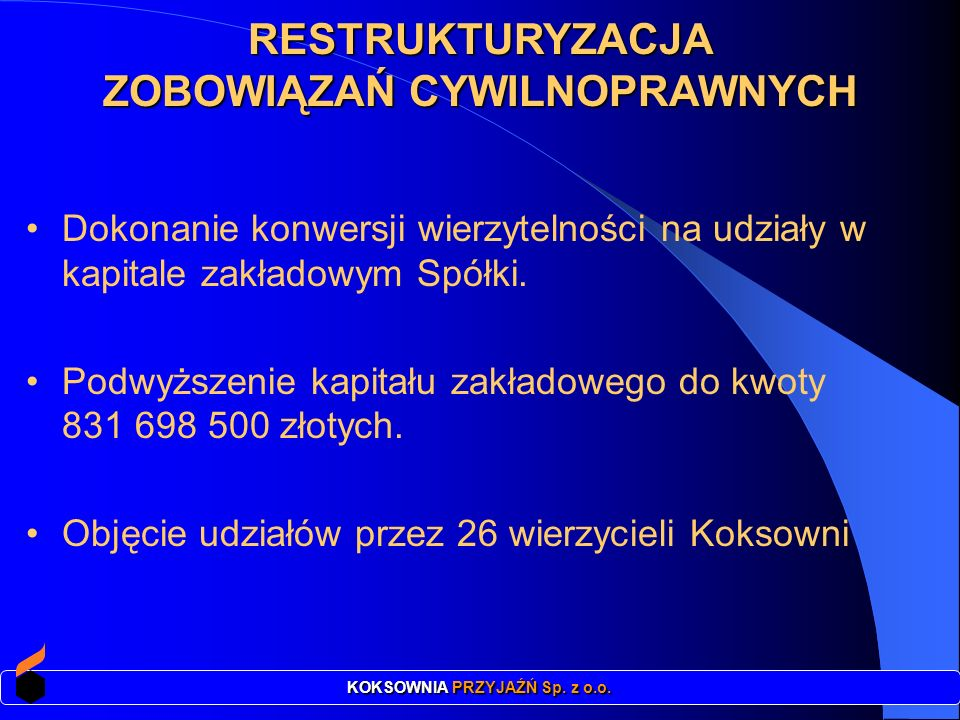 Łączna kwota spłaconych zobowiązań: 161.508.577 zł w tym wobec: Urzędu Miasta Urzędu Skarbowego.