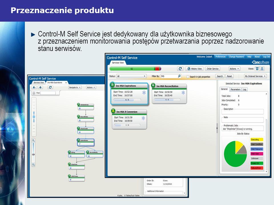 Przeznaczenie produktu Control-M Self Service jest dedykowany dla użytkownika biznesowego z przeznaczeniem monitorowania postępów przetwarzania poprze