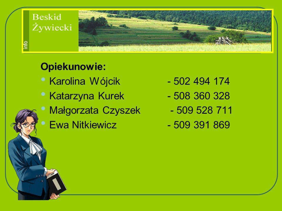 Opiekunowie: Karolina Wójcik - 502 494 174 Katarzyna Kurek - 508 360 328 Małgorzata Czyszek - 509 528 711 Ewa Nitkiewicz- 509 391 869
