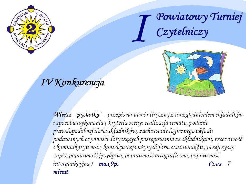 IV Konkurencja Wiersz – pychotka – przepis na utwór liryczny z uwzględnieniem składników i sposobu wykonania ( kryteria oceny: realizacja tematu, poda