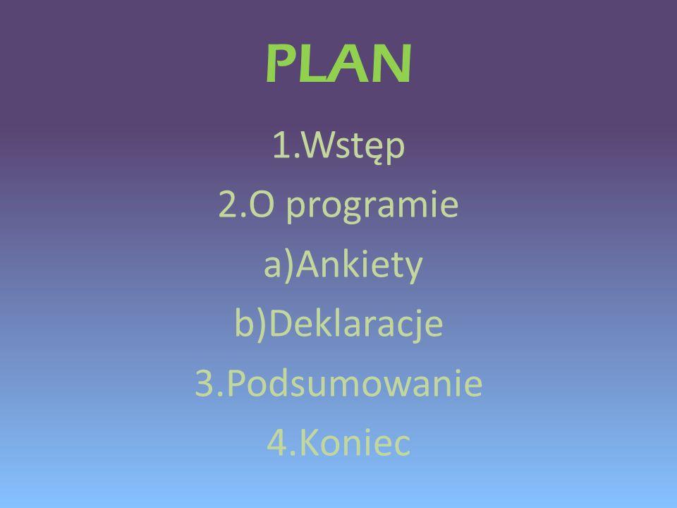 PLAN 1.Wstęp 2.O programie a)Ankiety b)Deklaracje 3.Podsumowanie 4.Koniec