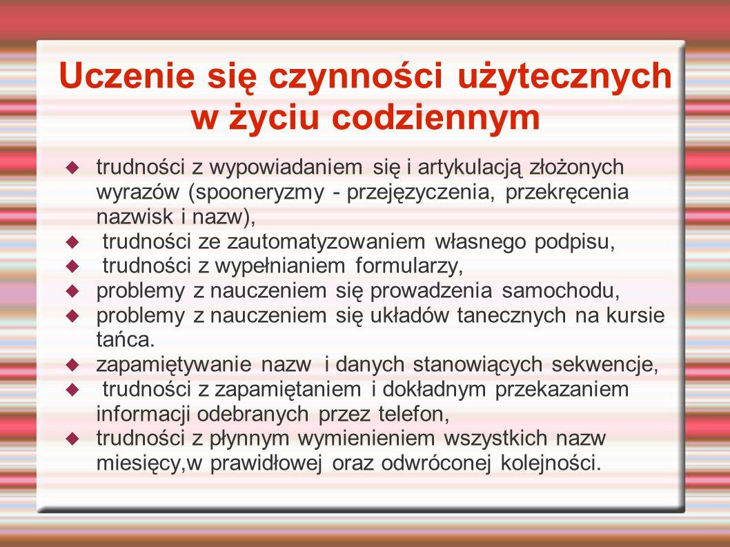 Uczenie się czynności użytecznych w życiu codziennym trudności z wypowiadaniem się i artykulacją złożonych wyrazów (spooneryzmy - przejęzyczenia, prze