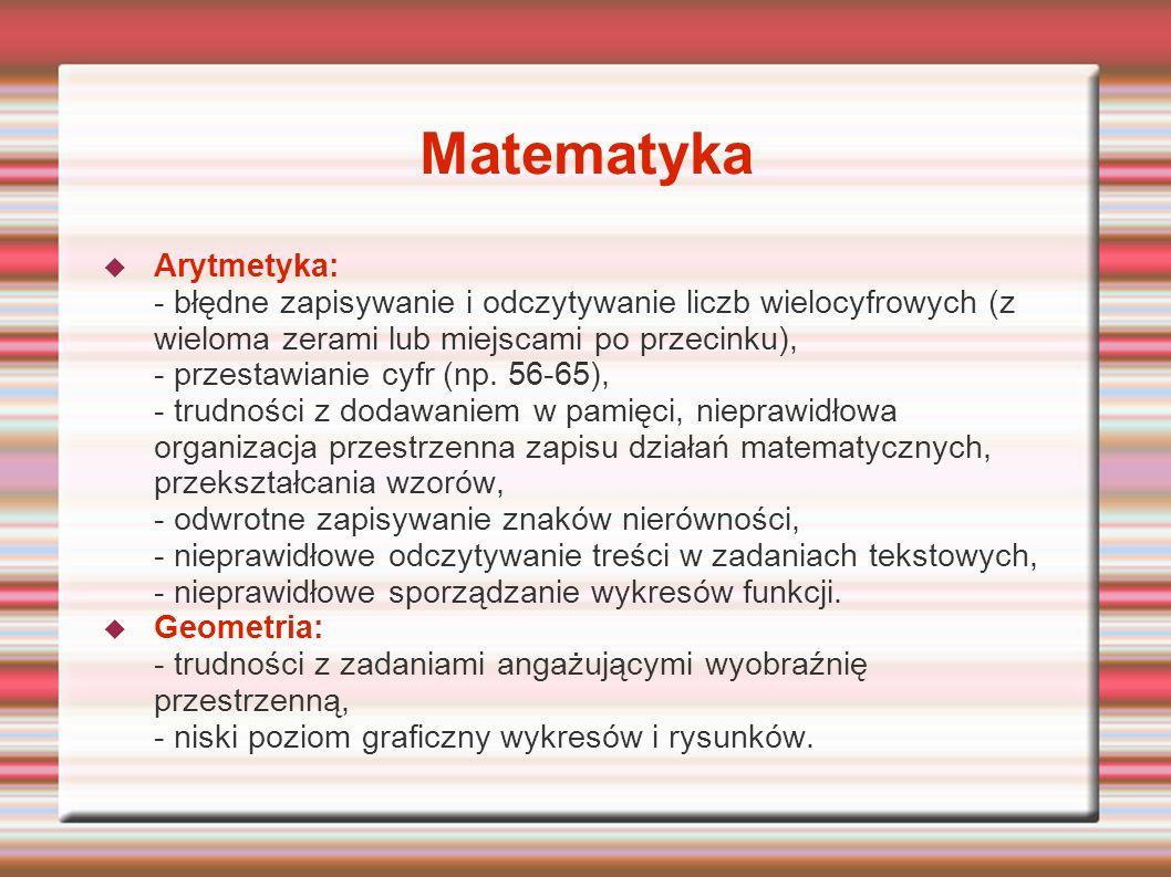 Matematyka Arytmetyka: - błędne zapisywanie i odczytywanie liczb wielocyfrowych (z wieloma zerami lub miejscami po przecinku), - przestawianie cyfr (n