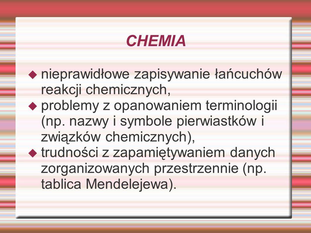 CHEMIA nieprawidłowe zapisywanie łańcuchów reakcji chemicznych, problemy z opanowaniem terminologii (np. nazwy i symbole pierwiastków i związków chemi