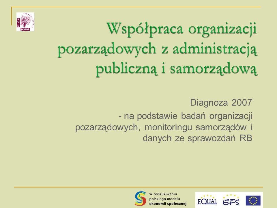Diagnoza 2007 - na podstawie badań organizacji pozarządowych, monitoringu samorządów i danych ze sprawozdań RB