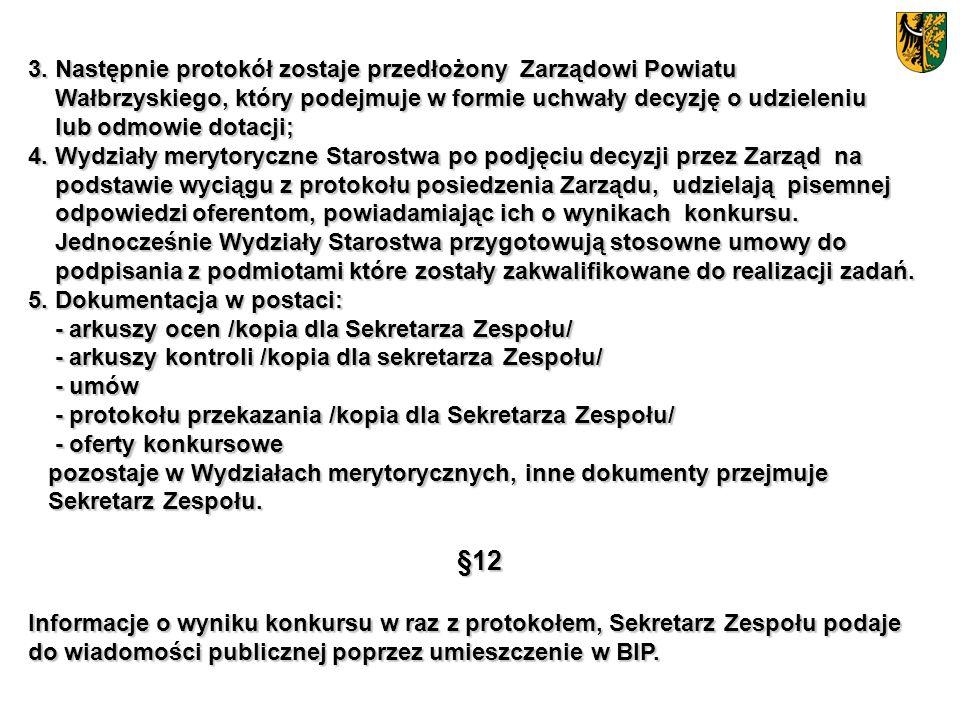 3. Następnie protokół zostaje przedłożony Zarządowi Powiatu Wałbrzyskiego, który podejmuje w formie uchwały decyzję o udzieleniu Wałbrzyskiego, który