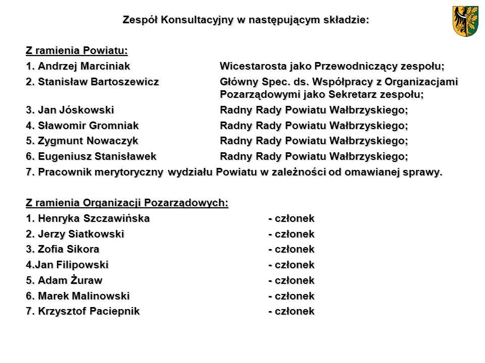 Zespół Konsultacyjny w następującym składzie: Z ramienia Powiatu: 1. Andrzej MarciniakWicestarosta jako Przewodniczący zespołu; 2. Stanisław Bartoszew