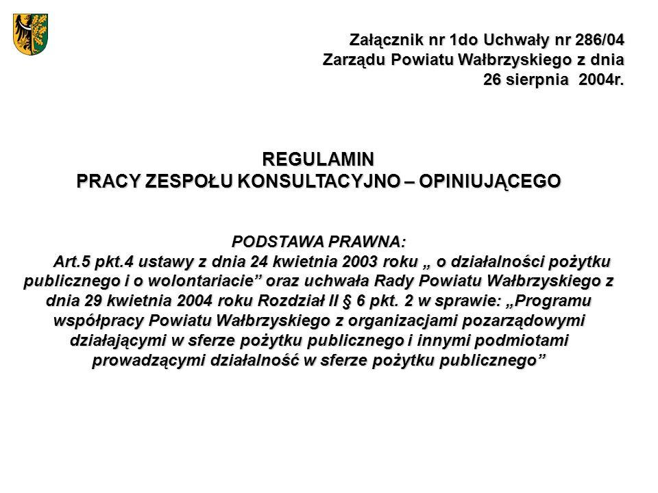 Załącznik nr 1do Uchwały nr 286/04 Zarządu Powiatu Wałbrzyskiego z dnia 26 sierpnia 2004r. REGULAMIN PRACY ZESPOŁU KONSULTACYJNO – OPINIUJĄCEGO PODSTA