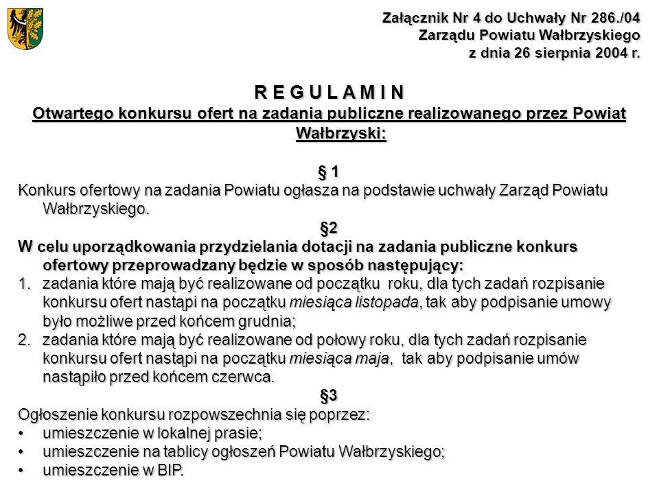 Załącznik Nr 4 do Uchwały Nr 286./04 Zarządu Powiatu Wałbrzyskiego z dnia 26 sierpnia 2004 r. R E G U L A M I N Otwartego konkursu ofert na zadania pu