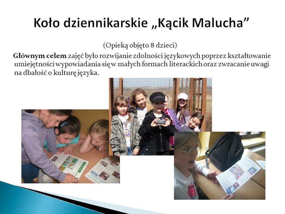 (Opieką objęto 8 dzieci) Głównym celem zajęć było rozwijanie zdolności językowych poprzez kształtowanie umiejętności wypowiadania się w małych formach