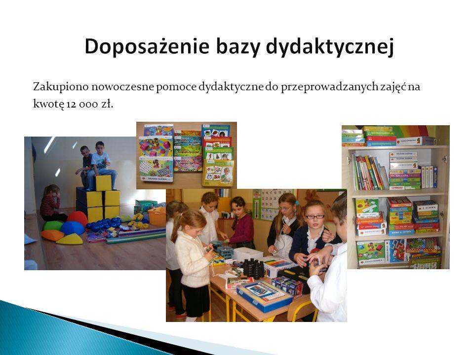 Zakupiono nowoczesne pomoce dydaktyczne do przeprowadzanych zajęć na kwotę 12 000 zł.